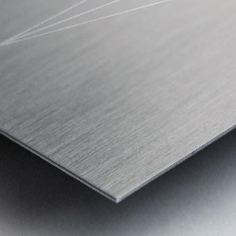 Grid Star Grey Metal print