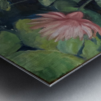 Koi with water lily  Metal print