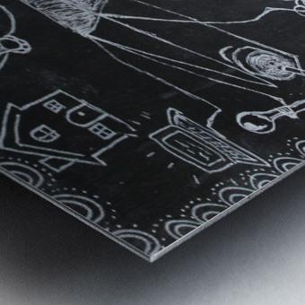 Warli Art Depicting multitask Metal print