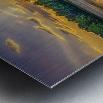 Lakeside sunset; Bushkill, Pennsylvania, United States of America Metal print