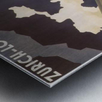 Zurich - London travel poster for Swissair Metal print