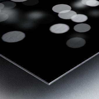 Bokeh Out Of Focus Black White Background Light Metal print