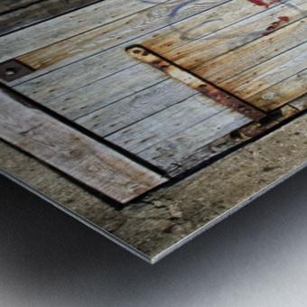 Old Wooden Door Of Building Metal print