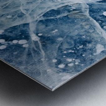 Close Up Of Cracks In The Ice Of Nenana River Near Denali National Park, Southcentral Alaska, Winter Metal print