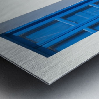 Whitewash building with blue trimmed window along the Aegean sea; Oia, Santorini, Greece Metal print