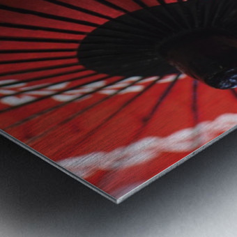 Japanese red umbrella; Kyoto, Japan Metal print
