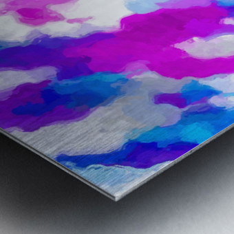 psychedelic painting texture abstract in pink purple blue yellow and white Metal print