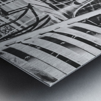 outdoor chairs in the city in black and white Metal print