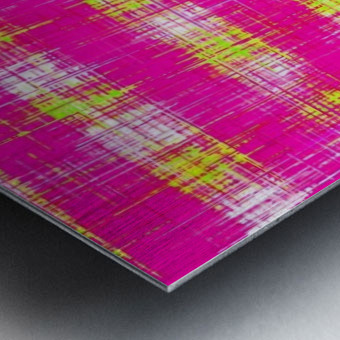 plaid pattern graffiti painting abstract in pink and yellow Metal print