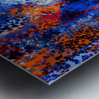 psychedelic geometric polygon shape pattern abstract in blue red orange Metal print