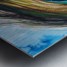 Artwork showing the detail of a colourful bird feather Metal print