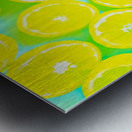 juicy yellow lemon pattern abstract with green background Metal print