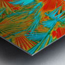 closeup palm leaf texture abstract background in orange blue green Metal print