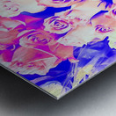 bouquet of roses texture pattern abstract in pink and purple Metal print