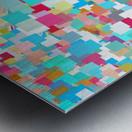 geometric square pixel pattern abstract background in blue pink orange green Metal print