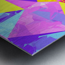 geometric triangle polygon pattern abstract in pink purple blue yellow Metal print