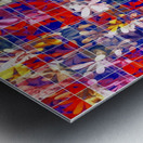 blooming flower with square pattern abstract in red and blue Metal print