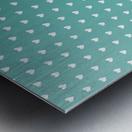 Teal Green Heart Shape Pattern Metal print