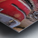Red skiff reflections Metal print