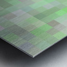 geometric square pixel pattern abstract in green and pink Metal print