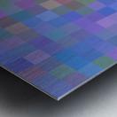 geometric square pixel pattern abstract in purple blue pink Metal print