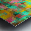 geometric square pixel pattern abstract in green yellow pink Metal print