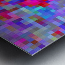 geometric square pixel pattern abstract background in blue purple pink red Metal print