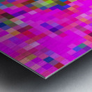 geometric square pixel pattern abstract background in pink blue yellow Metal print