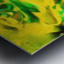 Golden Synchronicities - gold green abstract swirl wall art Metal print