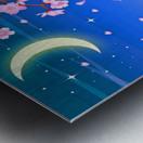 sakura cherry blossom night moon Metal print