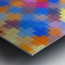 geometric square pixel pattern abstract in pink blue orange Metal print