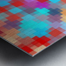 geometric square pixel pattern abstract in pink red blue Metal print