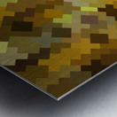 geometric square pixel pattern abstract in yellow and brown Metal print