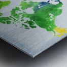 Watercolor Silhouette World Map Peaceful Green  Metal print