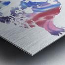 Watercolor Silhouette World Map Purple Blue Metal print