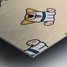 cute welsh corgi puppy sitting seamless pattern Metal print