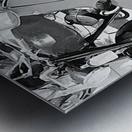 Lambretta Scooter Black and White Metal print