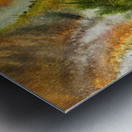 Fall Vortex Of Green Yellow Orange And Brown Abstract Watercolor  Metal print
