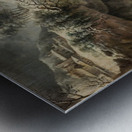 A frozen river landscape with figures Metal print