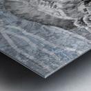 Silver Gray Seashell On Ocean Shore Waves And Rocks I Metal print