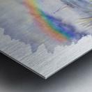 Girl Ocean Rainbow Boat And Birds Beach House Style Art Metal print