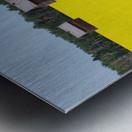 Alberta, Canada; Two Wooden Shacks In A Canola Field Metal print