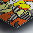 psychedelic drawing and painting abstract in orange and yellow Metal print