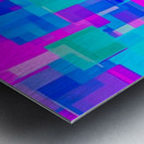 pink blue and green geometric square abstract background Metal print