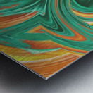 psychedelic graffiti wave pattern painting abstract in green brown yellow Metal print