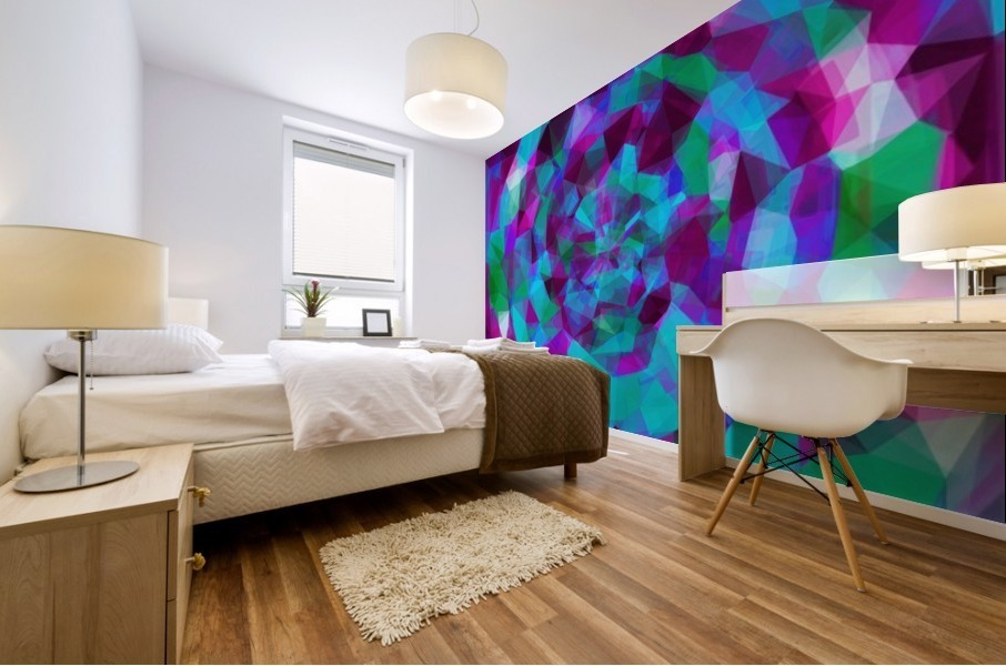 psychedelic geometric polygon pattern abstract in pink purple blue Mural print