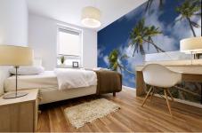 Hawaii, Palm Trees Lean Over Beach, Calm Turquoise Ocean, Dramatic Sky. Mural print