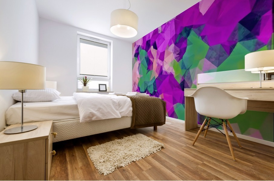 psychedelic geometric polygon pattern abstract in pink purple green Mural print