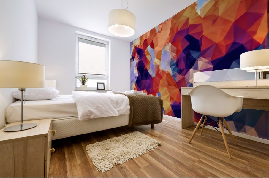 psychedelic geometric polygon pattern abstract in orange brown blue purple Mural print