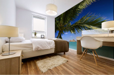 Hawaii, Oahu, Lanikai, Palm Tree Foreground, With Mokulua Islands Background, Sailboat In Turquoise Waters. Mural print